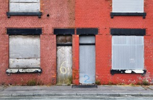 Derelict terraced housing awaiting demolition in Salford, UK